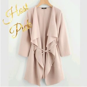 HP Blush Nude 3/4 Sleeve Jacket Cascade Front Tie